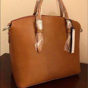 Large brown shoulder bag.